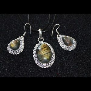 Faceted Labradorite Pendant & Earrings Set